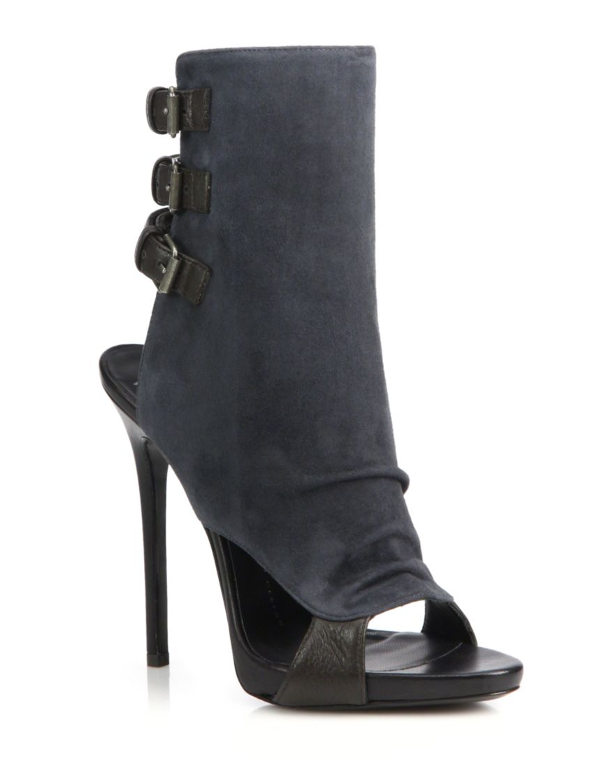 7c9afc171b700 Giuseppe Zanotti | Suede & Leather Buckled Peep-Toe Booties | SAKS OFF 5th