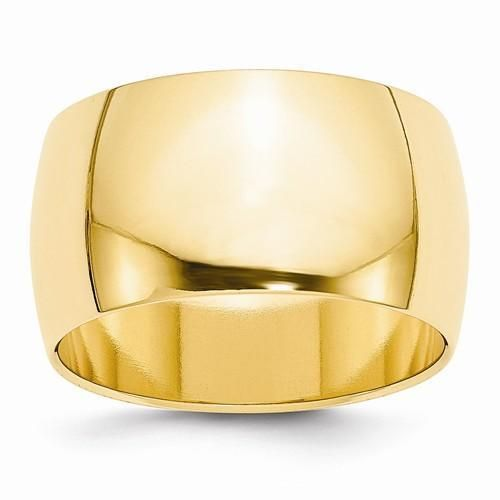 New Solid 14k Yellow Gold Polished Ring Mens 12mm Wedding Band Half Round Sz 12 Round Wedding Band Gold Wedding Band Wedding Ring Bands