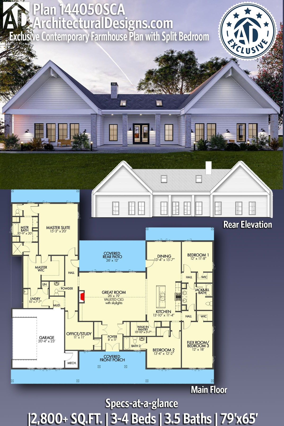 Plan 144050sca Exclusive Contemporary Farmhouse Plan With Split Bedrooms House Plans Farmhouse New House Plans Farmhouse Plans