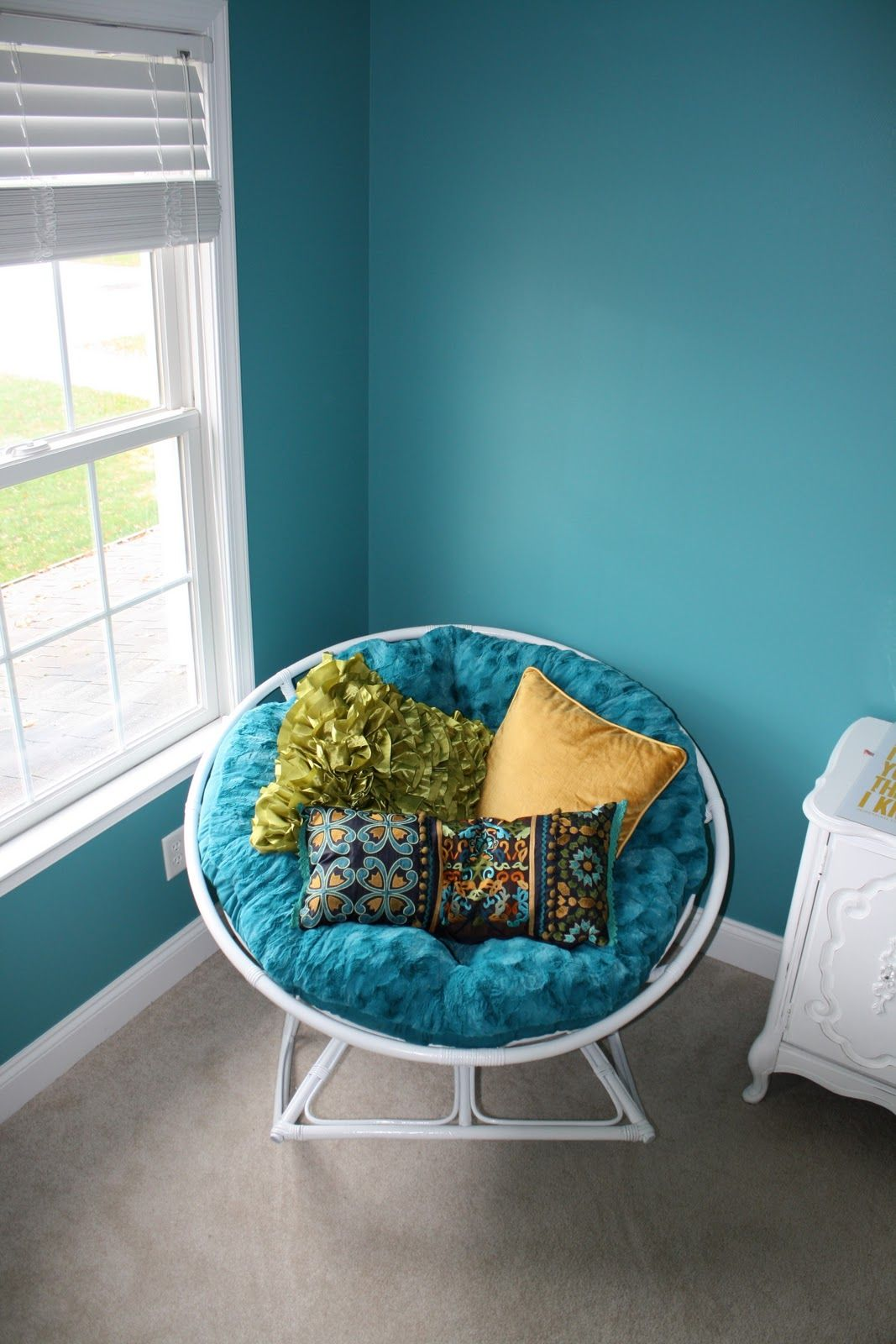 Same Rocking Papasan Chair   Painted White With The Teal Fuzzy Cushion!