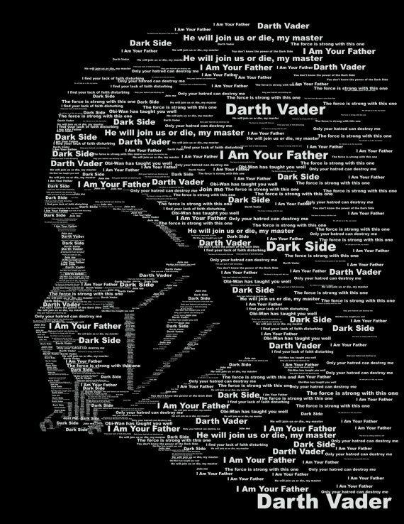 star wars darth vader dark side typography print pinterest star