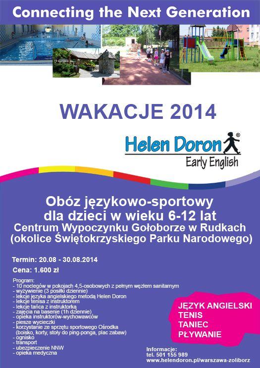 CENTRUM WYPOCZYNKU GOŁOBORZE W RUDKACH – obóz językowo-sportowy Termin: 20.08 – 30.08.2014