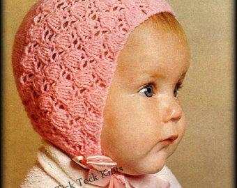 No.349 Baby Bonnet Knitting Pattern PDF Vintage - Tulip Lace Bonnet - Size Newborn to 6 months - Retro Baby Knitting Pattern