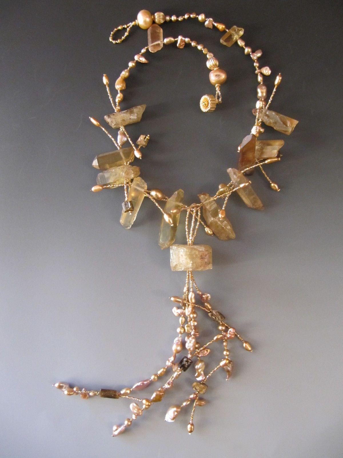 Apetite Crystal, quartz crystals, brown tourmaline crystals,keshi pearls...LuciaAntonelli.com