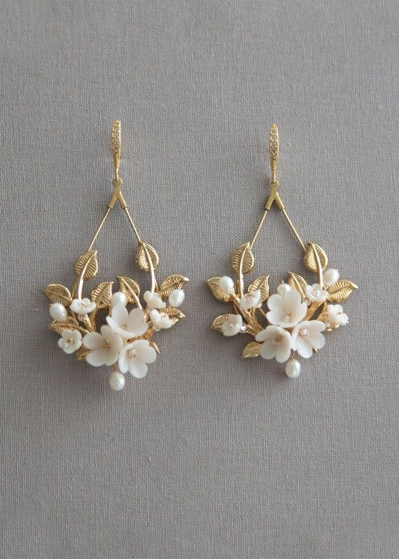 Photo of Flower & pearl statement bridal earrings. Wedding Earrings   Etsy