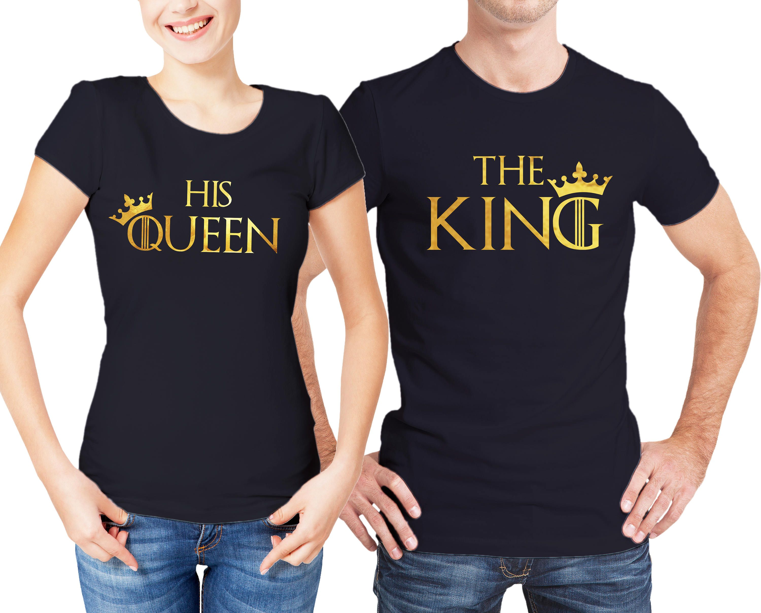 King and His Queen Thrones inspired His and Her Couples black t-shirts set