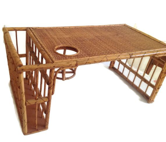 Vintage Bamboo Lap Tray Breakfast Bed By Merrilyverilyvintage Serving Decor