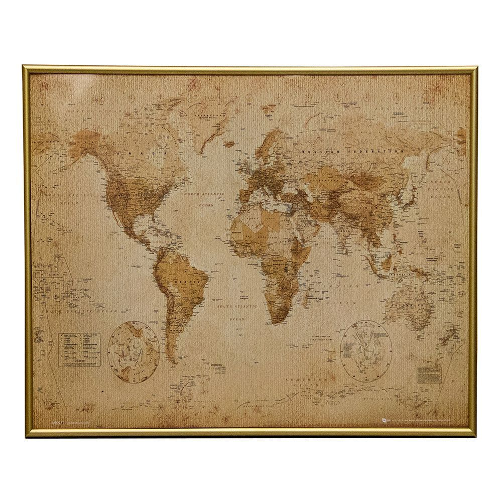 Matte finish metal 16x20 picture frame black 16x20 picture frame alcott hill world map antique metal framed graphic art print poster gumiabroncs Choice Image