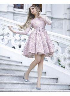 rosa cocktailkleider kurz a linie mini abendkleider mit Ärmel modellnummer xy336  a line prom