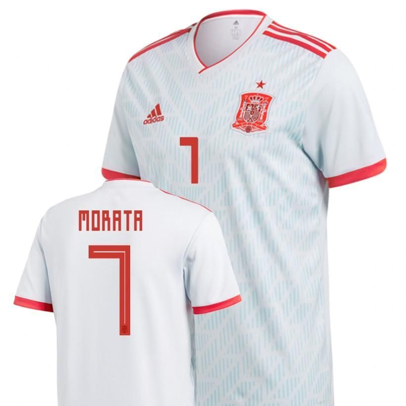 Men  7 Álvaro Morata Jersey Away Spain National 2018 FIFA World Cup ... 21f4d5767