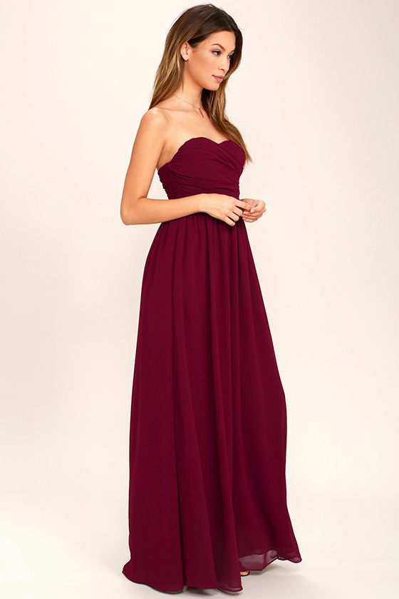 f44e326491fb Let the Love and Be Loved Burgundy Strapless Maxi Dress fill your heart  with joy! Panels of chiffon elegantly drape across a strapless