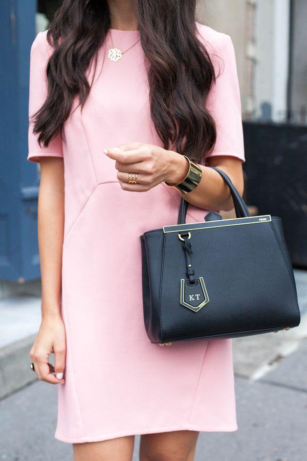 8be99210c Whistles Pink Shift Dress with Fendi 2Jours Mini Bag. | Fashion ...