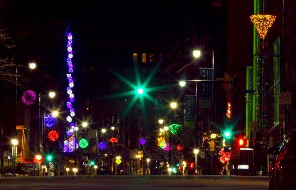 Portland Maine Christmas.Portland Maine Holiday Lights Shine Through The Night On A