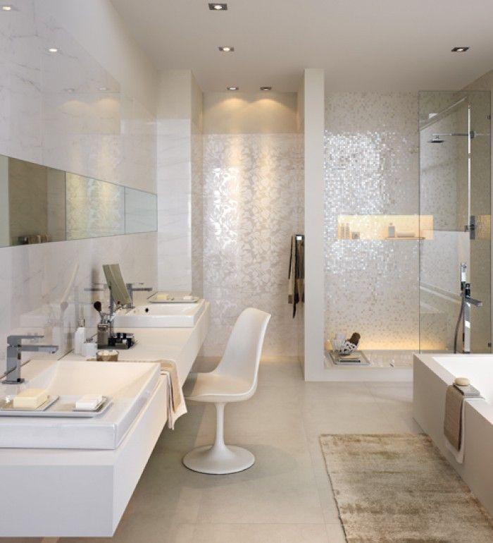 Witte mozaiek badkamer google zoeken idee n voor het huis pinterest badkamer zoeken en - Badkamer kleur idee ...