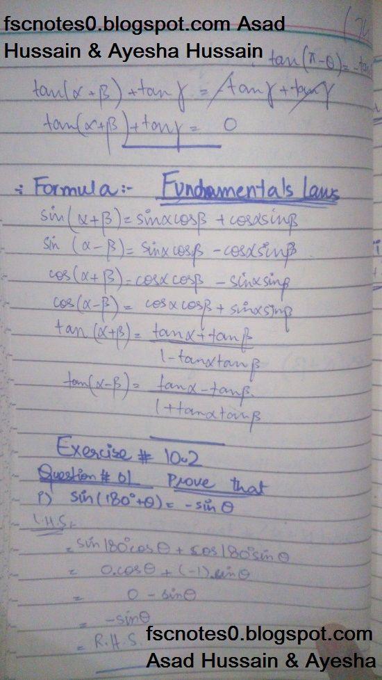 FSc ICS FA Notes Math Part 1 Chapter 10 Trigonometric