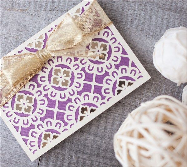 Lace Card Making Ideas Part - 39: Purple And Gold Floral Card Make With Cricut Explore, Card Making Ideas,  DIY Purple