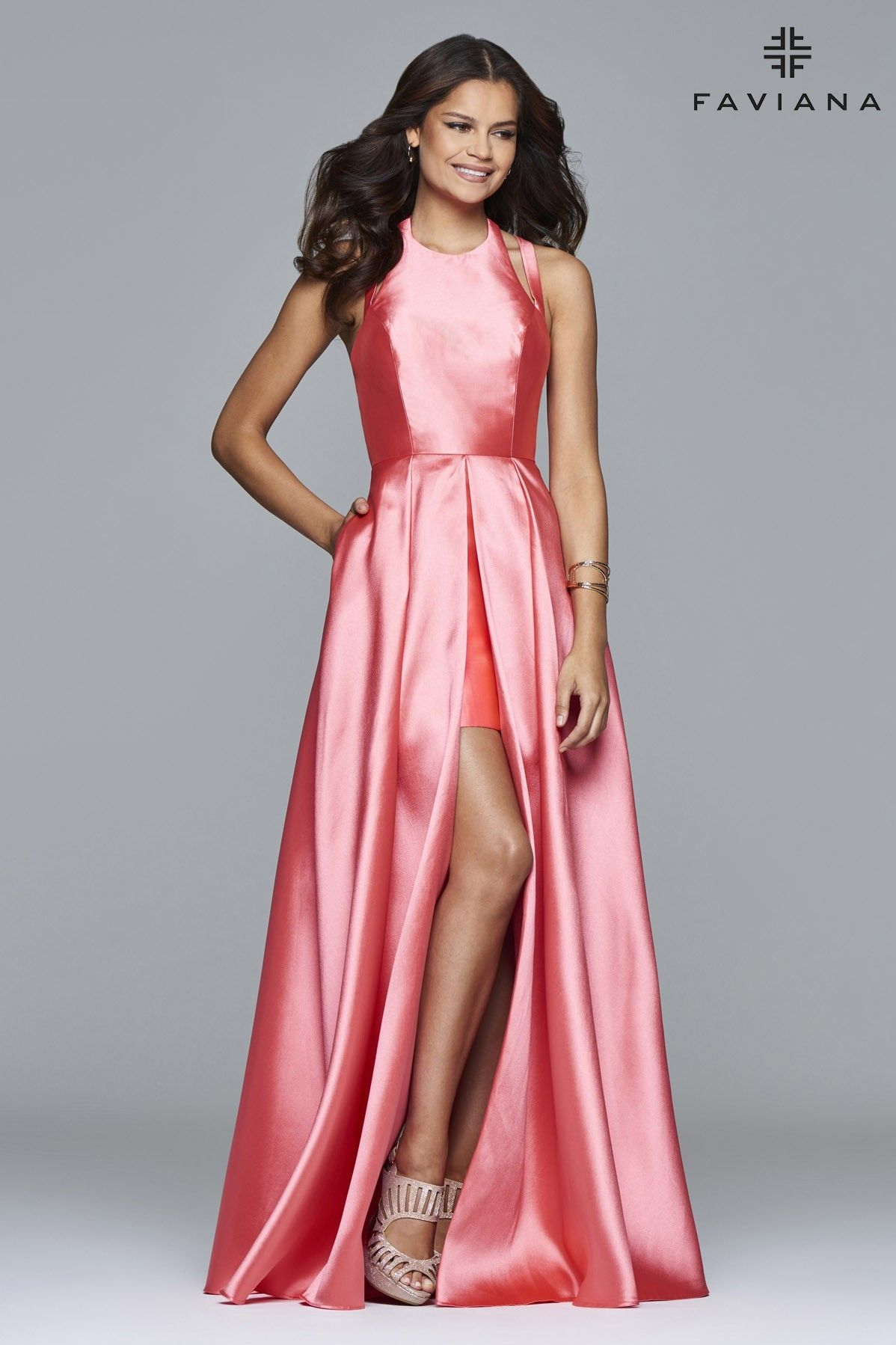Frosted satin evening dress with attached split front overskirt ...