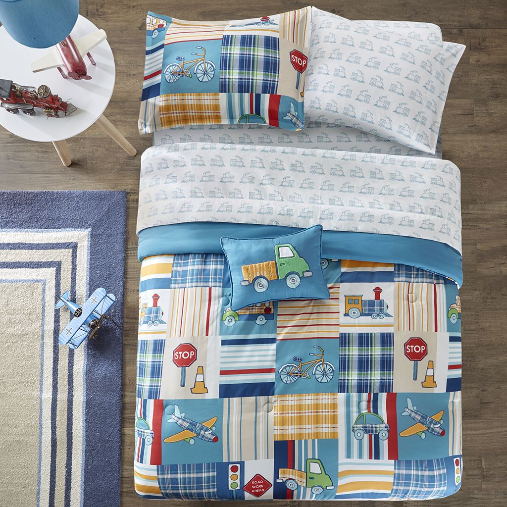 Transportation Trains Planes Trucks Boys Bedding Twin Full Comforter Set Blue Paid Bed In A Bag Boys Comforter Sets Kids Bedding Sets Kids Comforter Sets