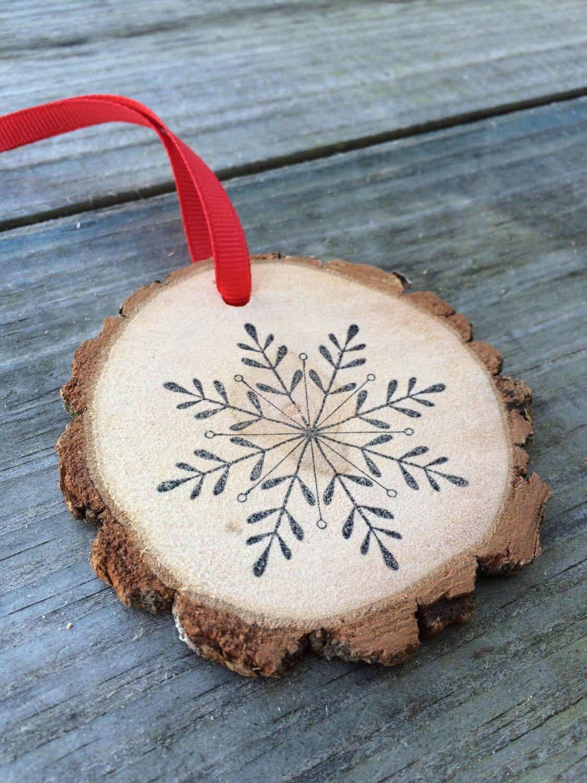 Snowflake Joy Peace Love Wood Slice Wood Round Etsy Christmas Wood Christmas Ornaments Christmas Crafts