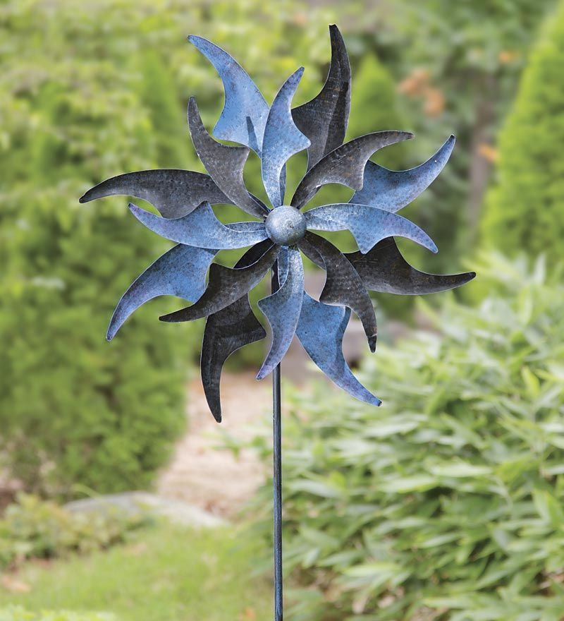 For An Entertaining Focal Point, Display This Blue Sails Metal Wind Spinner  In A Flowerbed, Landscaped Space Or By A Garden Entryway.