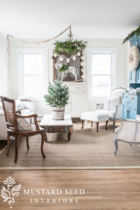 Christmas Decorating  The Living Room  Miss Mustard Seed   The Simple Mustard Dining Room Design Ideas