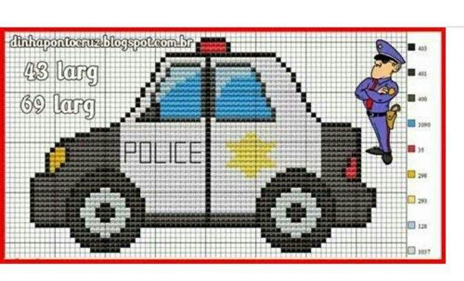 Police car x-stitch