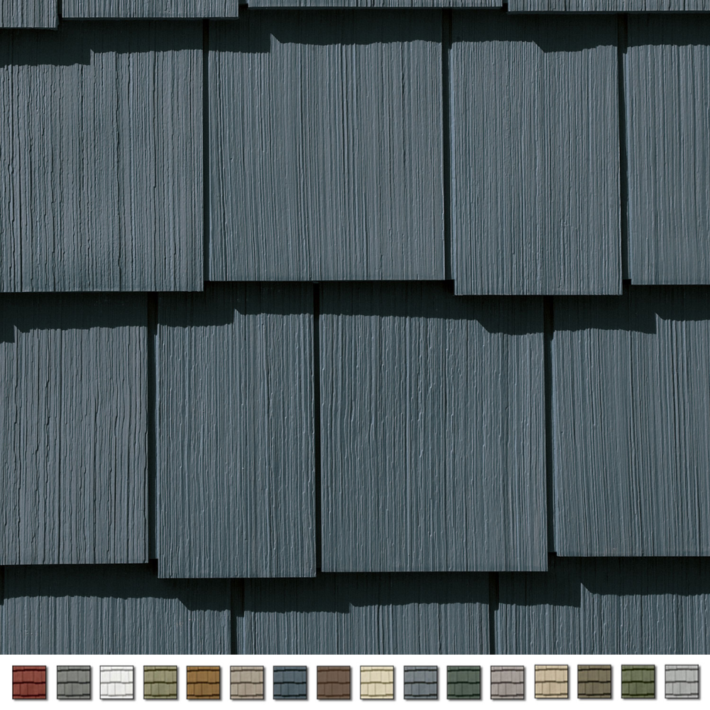 Cedar Impressions Double 7in Staggered Perfection Shingle Siding 1 2 Square Pacific Blue In 2020 Shingle Siding Shingle Siding Colors Vertical Siding Exterior