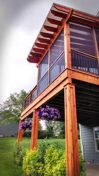 Cedar Pergola Covered Cedar Deck With Polycarbonate Roof Craftsman Deck Minneapolis St Croix Exteriors Rem Deck With Pergola Covered Pergola Pergola
