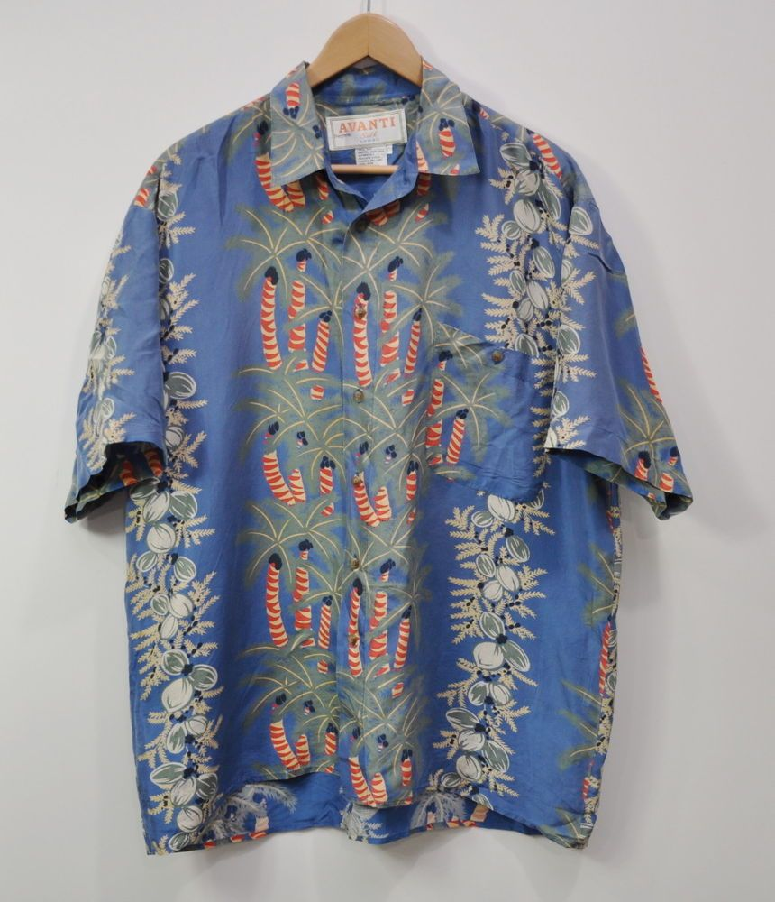 4c11c9f48 Avanti Men's Vintage Hawaiian Shirt Large Silk Aloha Hawaii palm trees blue  #Avanti #Hawaiian