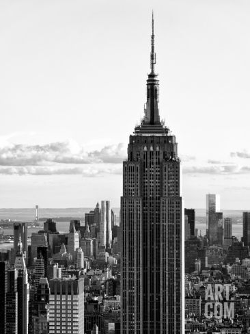 'Empire State Building from Rockefeller Center at Dusk, Manhattan, NYC, Black and White Photography' Photographic Print - Philippe Hugonnard | Art.com