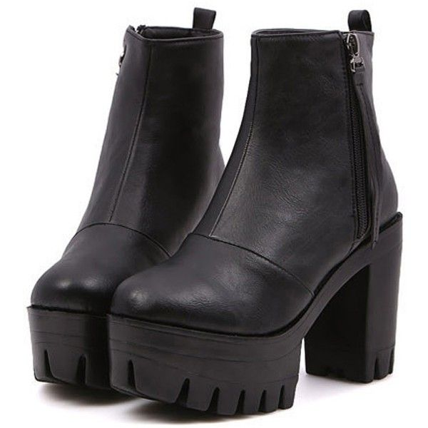 All-matching Platform Boots OASAP.COM (730 MXN) ❤ liked on Polyvore featuring shoes, boots, ankle booties, heels, black, black ankle booties, stacked heel boots, platform heel boots, platform booties and black heeled booties