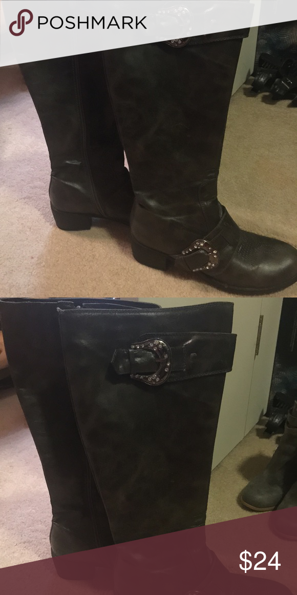 Roper western zip up boots Charcoal gray zip up boots , western look with chrome buckle details... Size 7.5 never worn without box. Comes from smoke free home Roper Shoes Heeled Boots