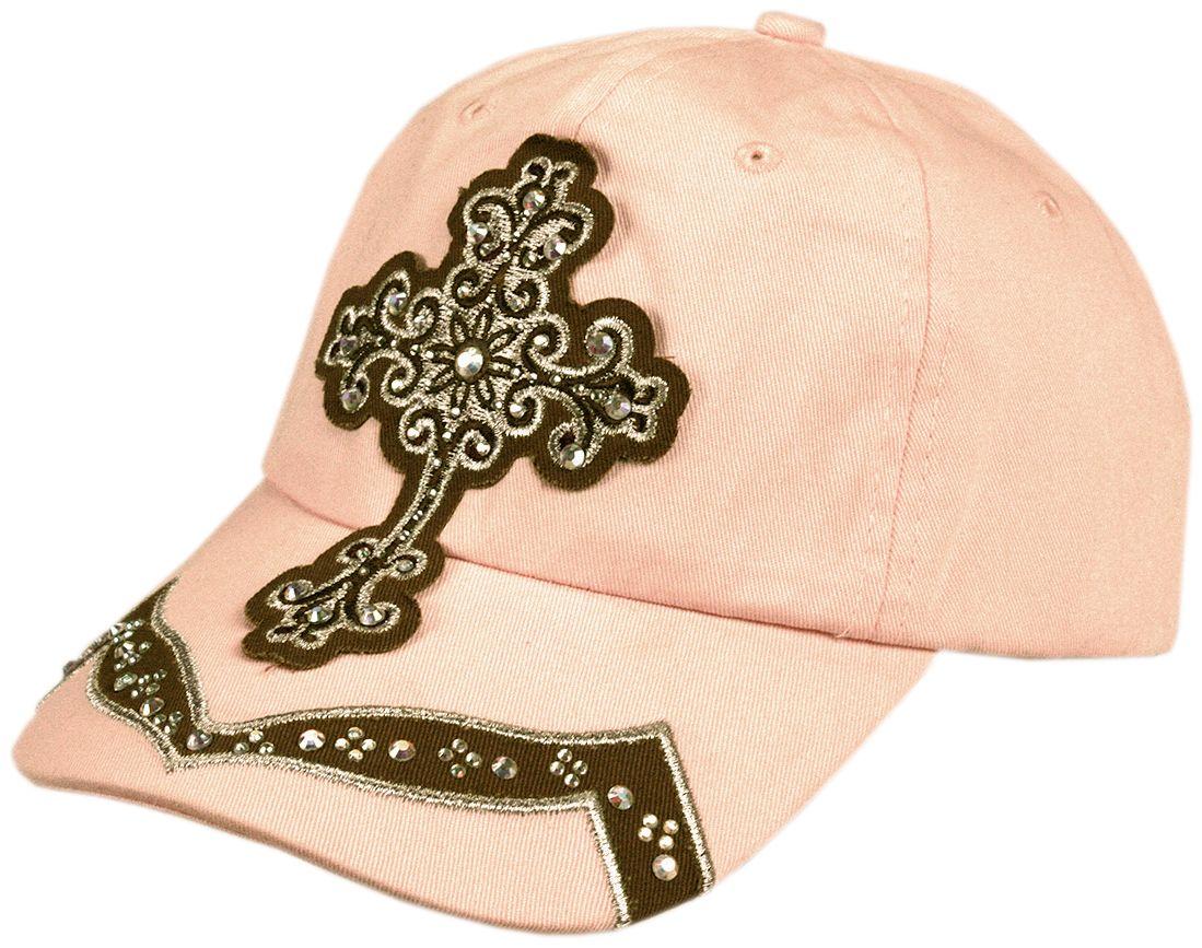 0c3102bde16eb Boné Feminino Cruz com Strass Boné feminino rosa com o desenho de uma cruz  bordada marrom