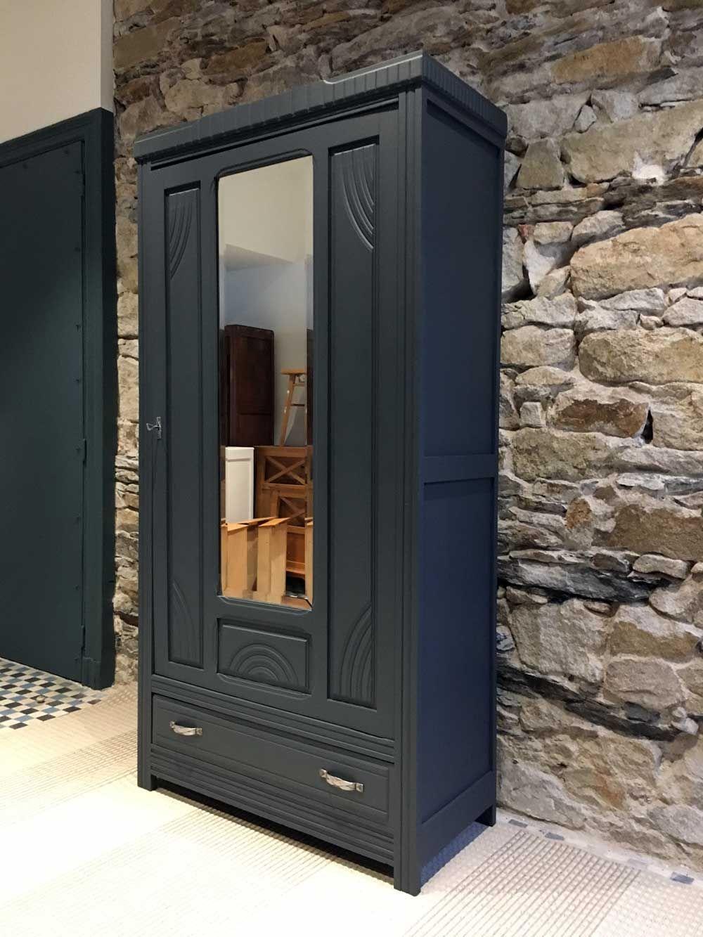 Armoire parisienne une porte avec miroir bonneti re Relooker une porte vitree