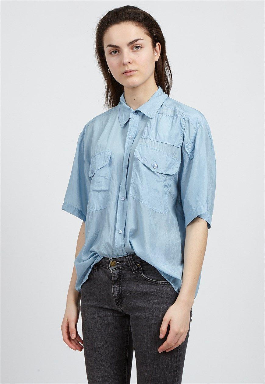 a6eded0ed5f2d0 Vintage Light Blue ENRICO Short Sleeve Silk Shirt