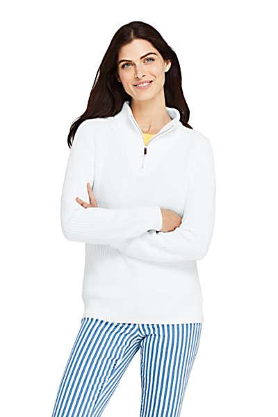 Women S White Drifter Shaker Cotton Quarter Zip Mock Neck Sweater Lands End Mock Neck Sweater Fashion Cotton Sweater