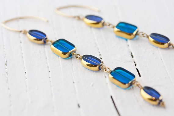 "Long ""Open Sea"" Dangle Earrings with 24k Gold-Coated Vintage Glass in Indigo & Bright Blue Glass on 14K Gold Fill Artfully Shaped Wires"