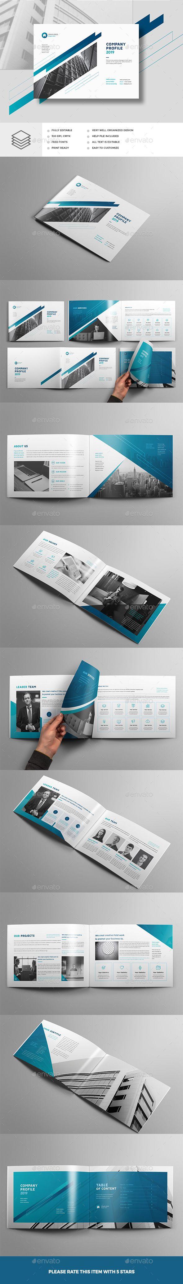 company profile landscape brochure template indesign indd a4 a5