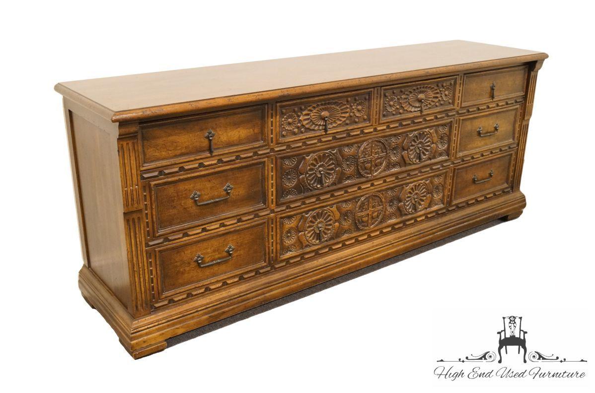 High End Used Furniture | JOHN WIDDICOMB Grand Rapids Jacobean Gothic  Revival 78u2033 Triple Dresser