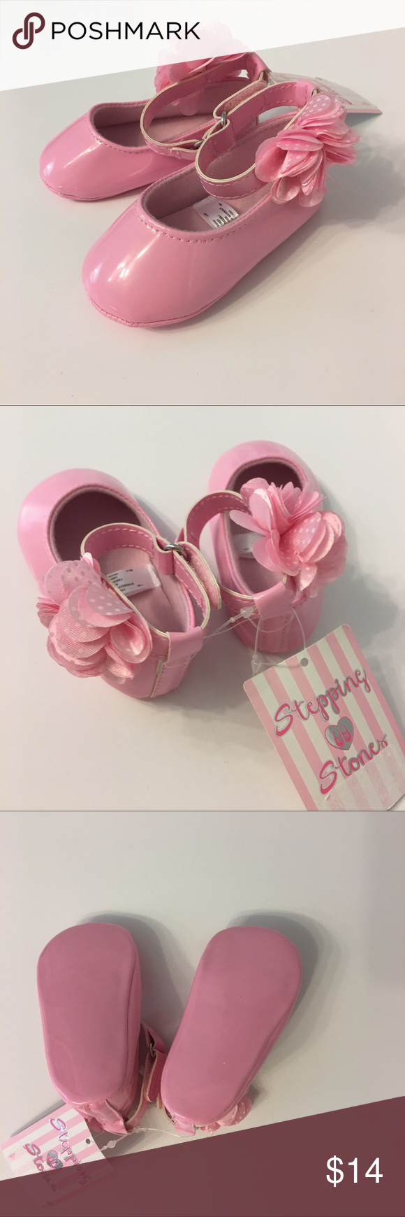 Nwt Pink Flower Shoes Size 9 12 Months Flower Shoes Pink Shoes