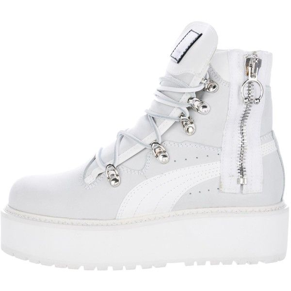 96fa2636523 Pre-owned Puma x Fenty SB White Rihanna Boots ( 175) ❤ liked on Polyvore  featuring shoes