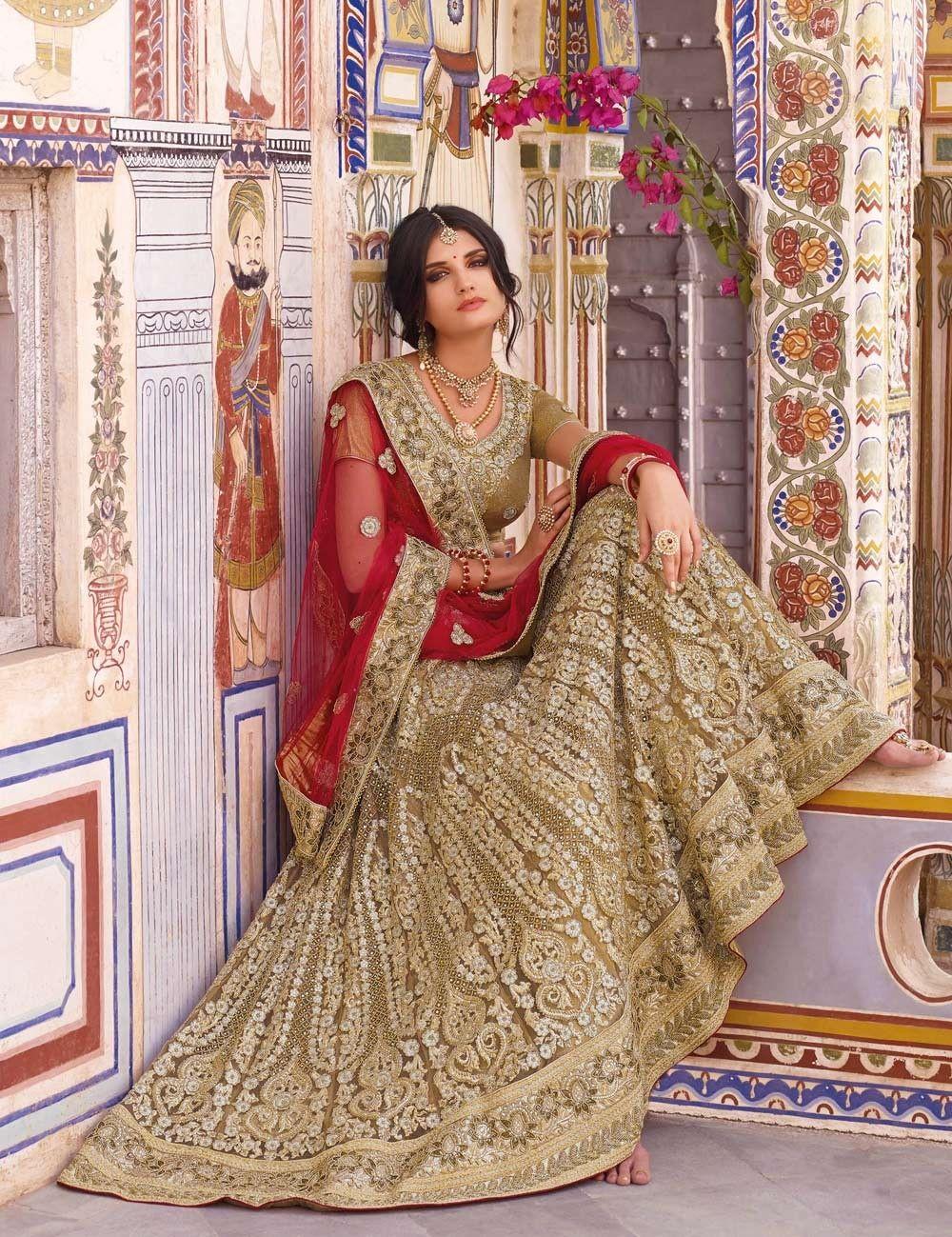 aa2f1095257a Beige traditional Indian bridal lehenga choli in net   Lehengas ...