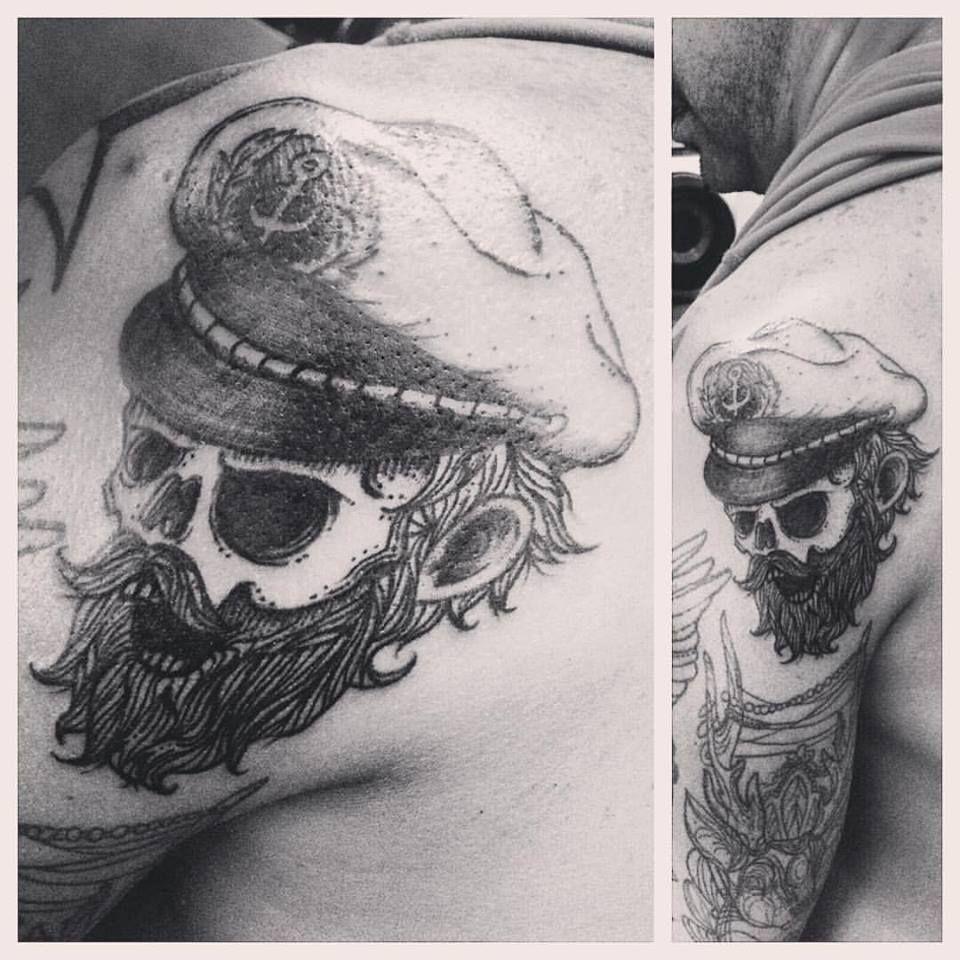 TAT No.28 Undead Captain (designed by other artist) #tattoo #captain #sailor #skull #lines #beard #bylazlodasilva #tattoocaptain
