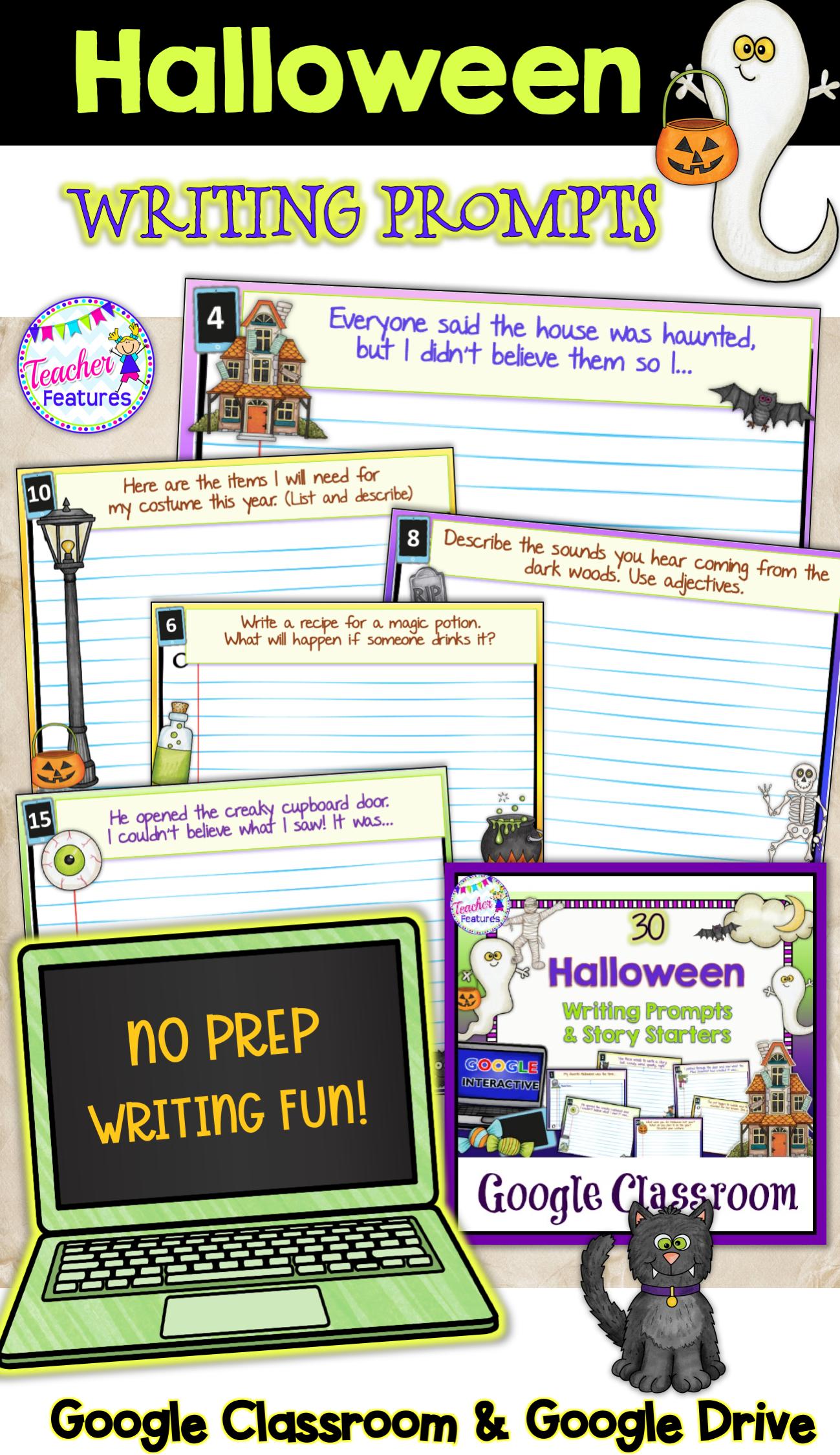 Classroom Halloween Digital Writing Prompts