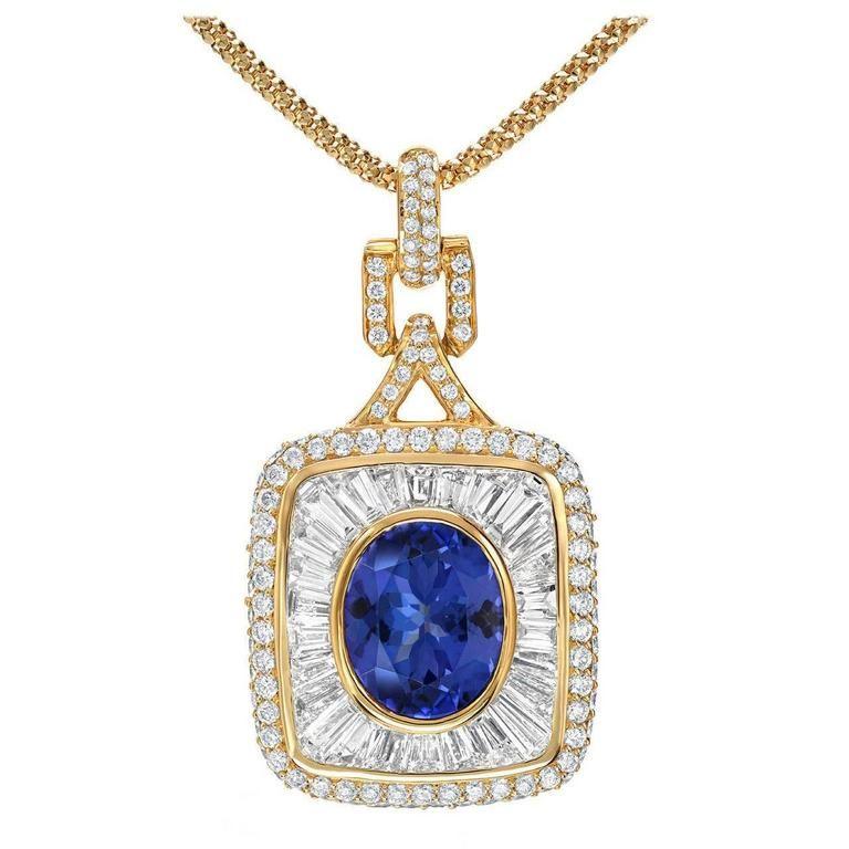 3.67 Carat Royal Blue Tanzanite Diamond Gold Pendant | 1stdibs.com