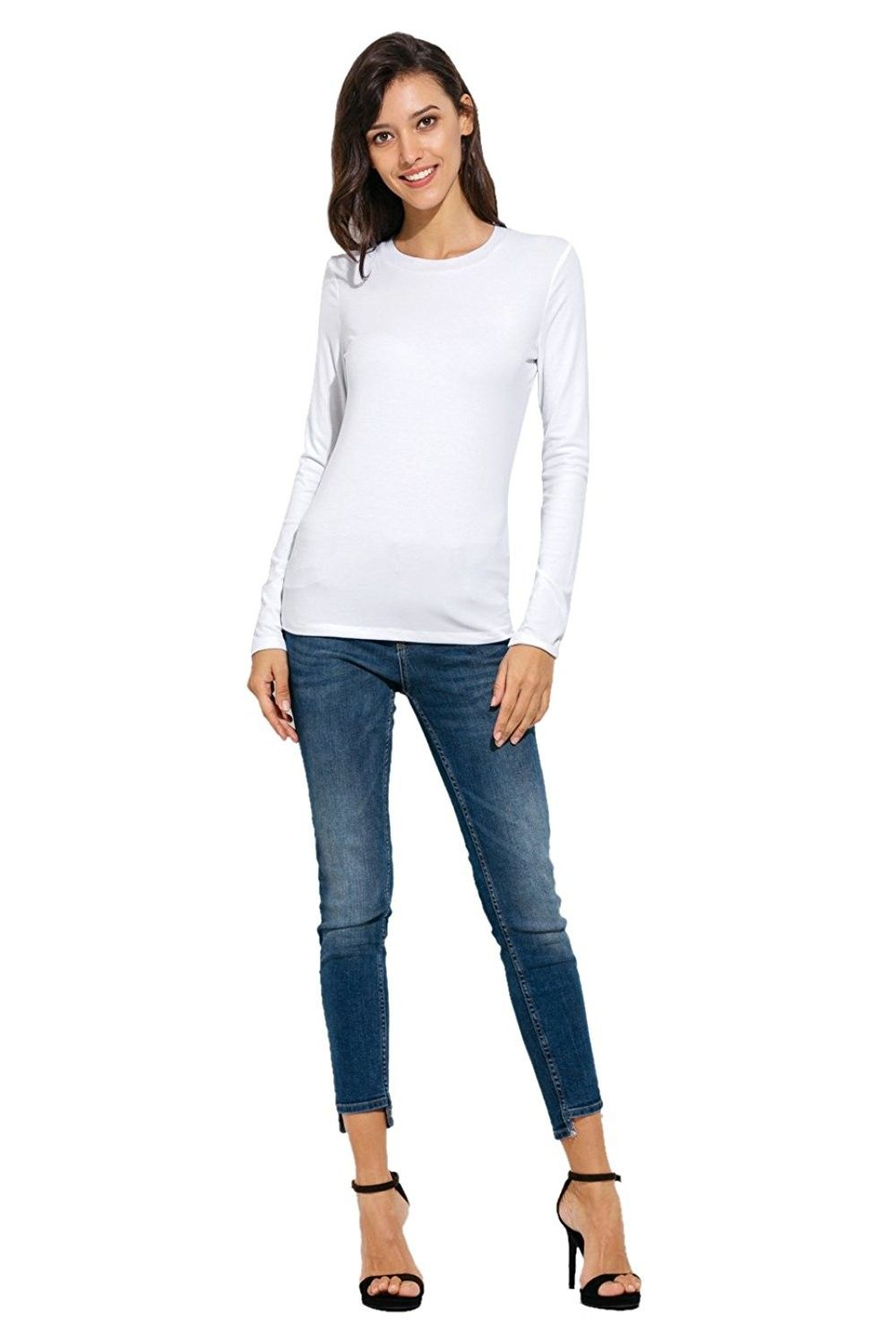 6dbc962c Women's Clothing, Tops & Tees, Henleys,Women's Basic Long Sleeve Crew Neck  Slim Fit Rayon Tees Shirts Top (XS-XL) - White - C91885OSIS8 #Clothing #Tops  ...