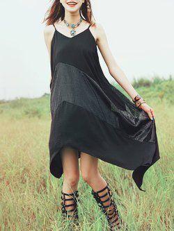 Black Asymmetrical Spaghetti Chiffon Midi Dress