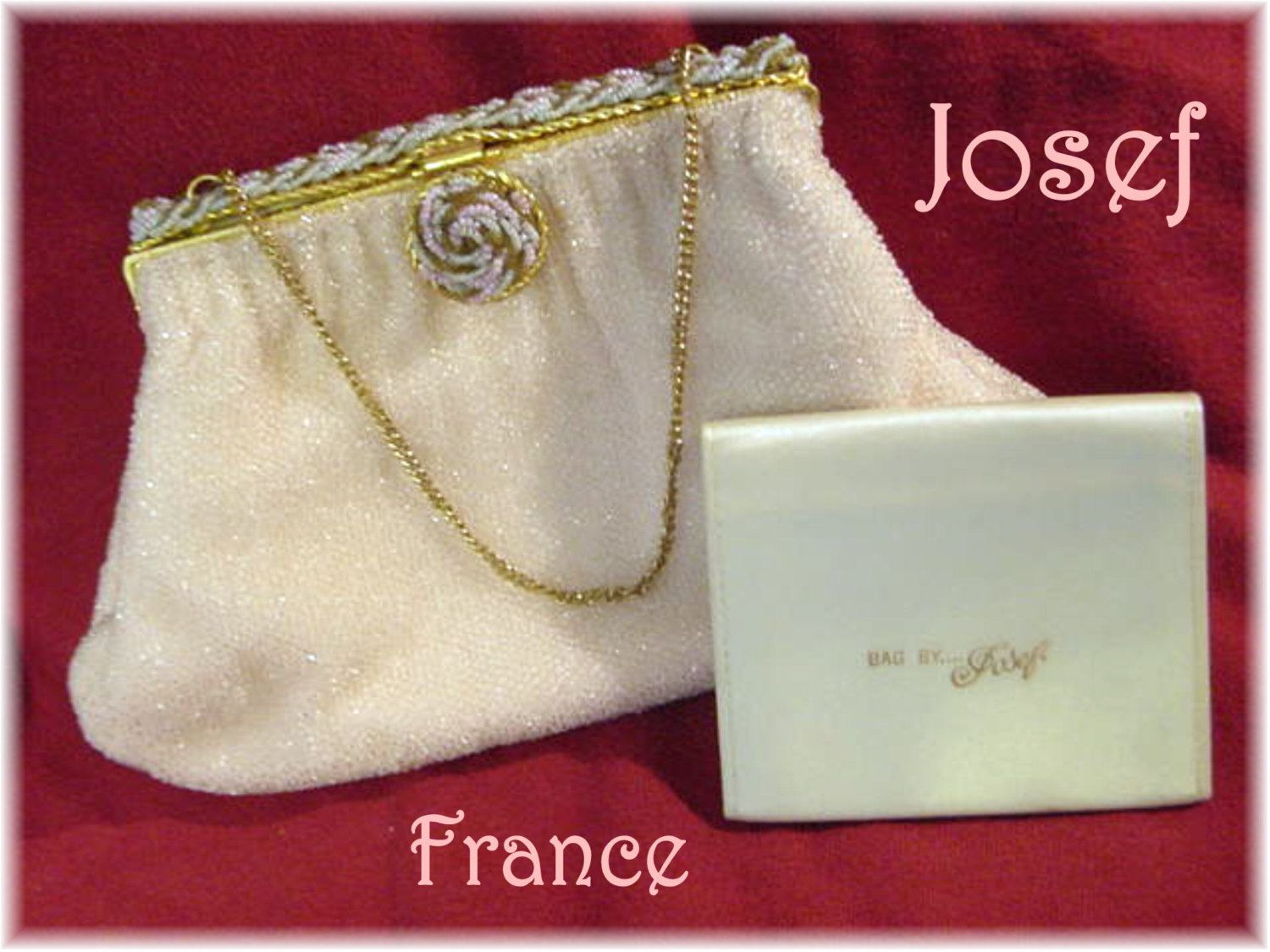 Josef - Hand Beaded Evening Purse with Mirror - France Braided Crystal Beads - Pink White Brown - FREE Shipping