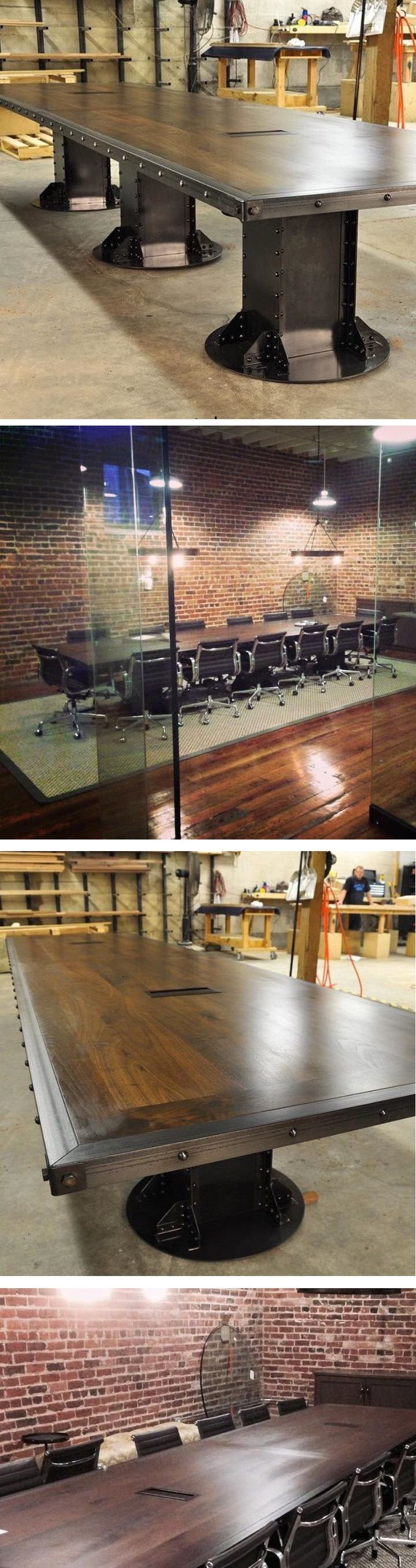 I Beam Conference Table, before and after shots by Vintage Industrial in Phoenix, AZ