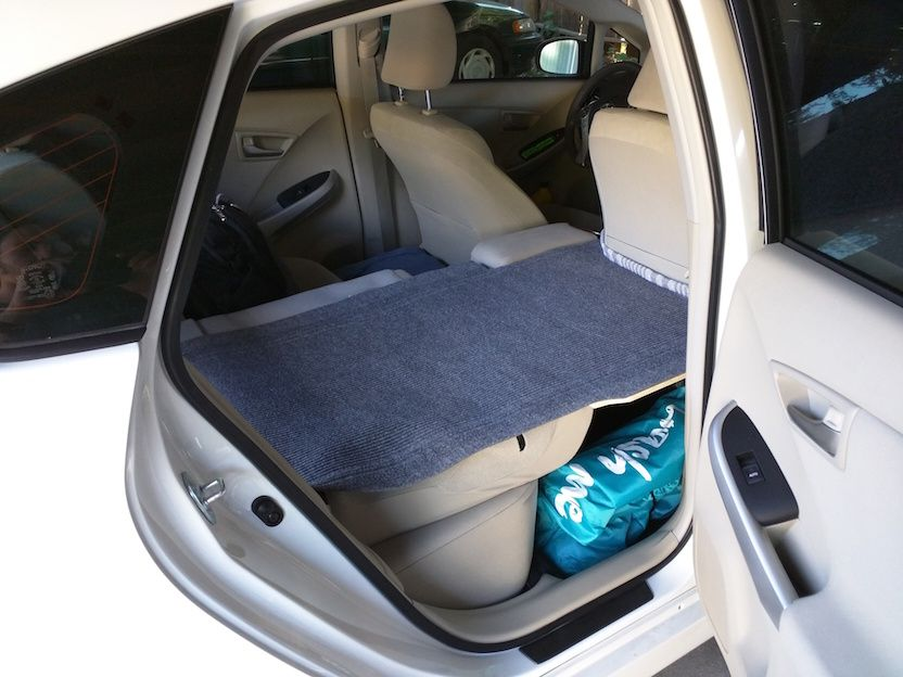Sleeping platform. Laundry bag at the bottom. | Prius ...